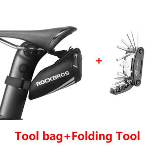 UK RockBros Bike Saddle/Seat Bag Mini Pannier Tool Bag With Folding Tool