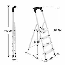 4 Step ALUMINIUM Ladder Folding TOP QUALITY - Safety Bar Tool Tray Lightweight