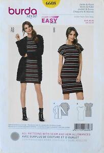 Burda 6608 Super Easy Misses Dress Jacket Sewing Pattern Sz 10-24