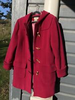 LL BEAN Coat Womens Med Wool Duffle Toggle Hooded Pink Color W/satin lining