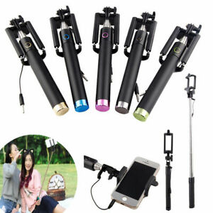Extendable Wired Selfie Stick Phone Holder Remote Shutter Monopod For Smartphone