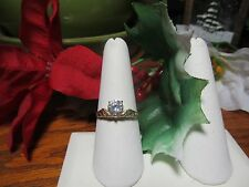 Unique Gold Plated Womens Girls CZ Fashion Cocktail Ring Sz 9.25