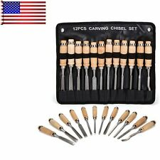 Wood Carving Hand Chisel Tools 12 Piece Set Woodworking Professional Gouges SE
