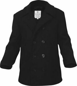 Black US Navy Type Quilted Thick Heavyweight Wool Peacoat
