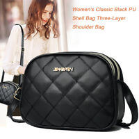 Fashion Women Leather Crossbody Bag Three Layers Shoulder Messenger Handbag