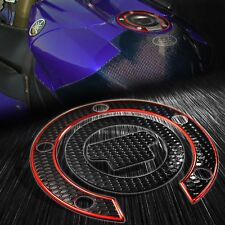 Chromed Red+Black Gas Tank Fuel Cap Cover Protector Pad for Yamaha YZF R1/R6/FZ