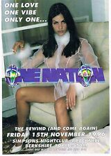 $ ONE NATION Rave Flyer Flyers A5 15/11/96 Simpsons Nightclub Bracknell
