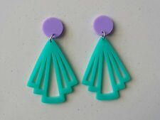Statement stud acrylic earrings dangle retro style purple pad aqua dangle
