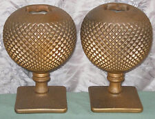 OOAK UNIQUE Vintage RUSTY-IRON-LOOK IVY BALL Pair Painted Hobnail Glass Old Vase