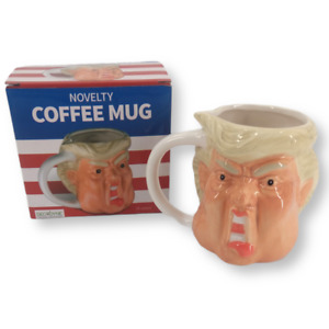 Donald Trump Hand Painted Novelty 18 Oz Face Shape Ceramic Coffee Mug New