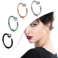 C-shaped Stainless Steel Nose Rings Diamond Decoration Rhinestone Piercing
