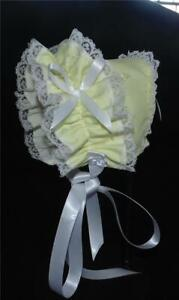 Yellow Eyelet Double Lace Front Baby Bonnet