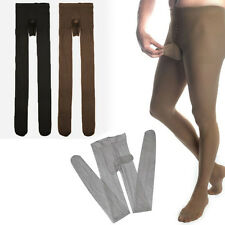 Men's Tight Sheer Nylon Sheath Pouch Stretchy Solid Color Pantyhose Stockings OS