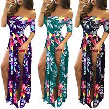 Womens Summer Beach Dress Shoulder Off High Slit Floral Print Maxi Long Dresses
