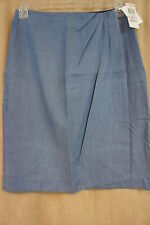 "Charter Club Skirt Sz 12 Soft Blue Denim ""FT Ibiza"" Faux Wrap Business Casual"