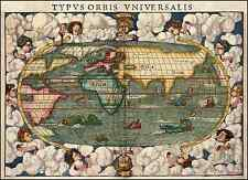 Farbe Antik Alt Welt Dekorativ Ungewöhnliche Landkarte & Monsters von Munster