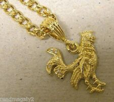 Men's Lady's 4 CZ Yellow Gold Plated Rooster Charm & 24in 4mm Cuban Chain Set