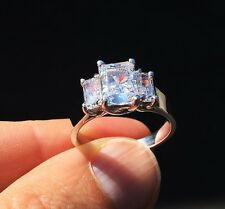Triple Radiant Cut Ring 2.5 ct tw.Top Russian Quality CZ Imitation Moissanite 7