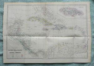 West Indies & Central America, original antique map, c1860
