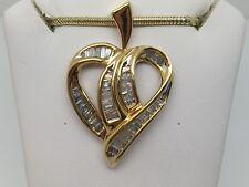 10K YELLOW GOLD 1CT DIAMOND CHANNEL SET BAGUETTE HEART PENDANT