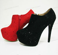 New Womens Pumps Ankle Stiletto Platform High Heel Rhinestone Zipper Shoes Sizes