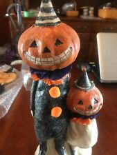 "14"" Halloween Decorations Spooky Pumpkin Pair Figure One Head on a Spring"