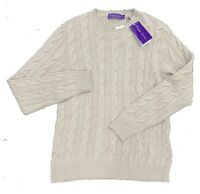 $1,000 Ralph Lauren Purple Label Tan Cashmere Sweater Size XL Made In Italy