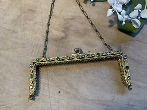 Antique Vintage Gold Tone Purse Evening Bag Frame with Green & Clear Stones