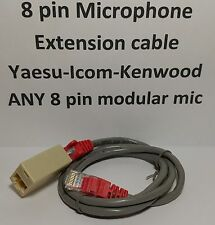 MICROPHONE EXTENSION CABLE 8 PIN RJ45 MODULAR YAESU ICOM KENWOOD 3 feet