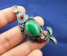 SUPERB CHINESE OLD HANDWORK COLLECTIBLES Tibetan silver jade fish Pendant