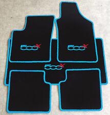 Autoteppich Fußmatten Kofferraum Set für Fiat 500x ab2014' hellblau rot 5tlg Neu