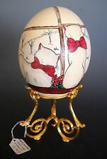 Hand Painted Ostrich Egg Two Cats Viewing the Wintry Outdoors with Stand