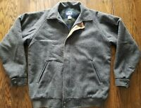 Mens Vintage WOOLRICH Gray Wool Plaid Lined Bomber Jacket Large Long Coat 1960s