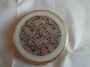 Vintage gold tone and Paisley pattern Stratton compact