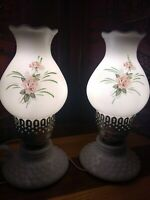 Vintage Pair White Hobnail Milk Glass Electric Hand Painted Hurricane Lamps Set