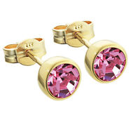 Paar Ohrstecker Gold 333er 5,50mm pink Zirkonia Ohrringen Kinder M78