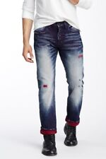 PRPS Demon Ladybug Mens Blue Distressed Slim Straight Denim Jeans NWT 44x34 $400
