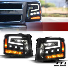 For 2007-2014 Silverado Black Full LED Sequential Tube Tri Projector Headlights