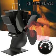 4 Blade Wood Stove Fan Fireplace Fire Heat Powered Saving Ecofan Christmas Gift