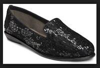 Women's AEROSOLES Betunia Slip-on Flats Loafer Black 9.5M New / Other Read