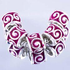 tibetan silver charms 5pcs rose red Enamel European charms beads For Bracelet