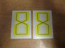 2x GUY MARTIN race number 8 - YELLOW Stickers / Decals  - 65mm