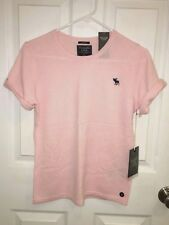 NWT Abercrombie & Fitch 100% CASHMERE Crewneck Short Sleeve SWEATER Top Pink S