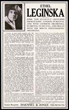 1923 Ethel Leginska photo Usa contour tour trade booking print ad