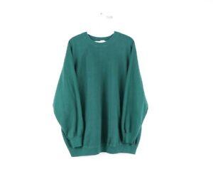 Vintage 60s Mens XL Blank Long Sleeve Crewneck Sweatshirt Green USA Made Faded