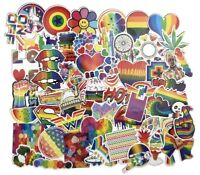 Psychedelic Rainbow PVC Sticker Pack Lot, Laptop Skateboard Vinyl Decal Hippie