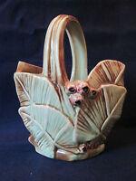 BASKET PLANTER VASE! Vintage McCOY ART pottery: LEAF & BERRY pattern LOVELY!