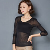 Sexy Women's Long Sleeve Pure See-through Sheer Mesh Black Shirt Tee Blouse Top
