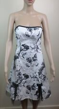 Portmans Womens Strapless Floral Ink Design Black White Layered Dress - Size 10