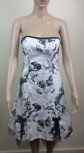 Portmans Womens Strapless Floral Ink Design Black White Layered Dress - Size 10